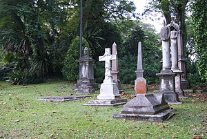 Elliot Bovill - Gravestones in Fort Canning Green, Singapore. Bovill's gravestone is in front on the right.