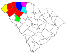 Location of the Greenville-Spartanburg-Anderson CSA, which coincides with Upstate South Carolina except for Abbeville County, and its components: .mw-parser-output .legend{page-break-inside:avoid;break-inside:avoid-column}.mw-parser-output .legend-color{display:inline-block;min-width:1.25em;height:1.25em;line-height:1.25;margin:1px 0;text-align:center;border:1px solid black;background-color:transparent;color:black}.mw-parser-output .legend-text{}   Greenville–Anderson Metropolitan Statistical Area .mw-parser-output .legend{page-break-inside:avoid;break-inside:avoid-column}.mw-parser-output .legend-color{display:inline-block;min-width:1.25em;height:1.25em;line-height:1.25;margin:1px 0;text-align:center;border:1px solid black;background-color:transparent;color:black}.mw-parser-output .legend-text{}   Spartanburg Metropolitan Statistical Area .mw-parser-output .legend{page-break-inside:avoid;break-inside:avoid-column}.mw-parser-output .legend-color{display:inline-block;min-width:1.25em;height:1.25em;line-height:1.25;margin:1px 0;text-align:center;border:1px solid black;background-color:transparent;color:black}.mw-parser-output .legend-text{}   Seneca Micropolitan Statistical Area .mw-parser-output .legend{page-break-inside:avoid;break-inside:avoid-column}.mw-parser-output .legend-color{display:inline-block;min-width:1.25em;height:1.25em;line-height:1.25;margin:1px 0;text-align:center;border:1px solid black;background-color:transparent;color:black}.mw-parser-output .legend-text{}   Greenwood Micropolitan Statistical Area .mw-parser-output .legend{page-break-inside:avoid;break-inside:avoid-column}.mw-parser-output .legend-color{display:inline-block;min-width:1.25em;height:1.25em;line-height:1.25;margin:1px 0;text-align:center;border:1px solid black;background-color:transparent;color:black}.mw-parser-output .legend-text{}   Gaffney Micropolitan Statistical Area .mw-parser-output .legend{page-break-inside:avoid;break-inside:avoid-column}.mw-parser-output .legend-color{display:inline-block;min-width:1.25em;height:1.25em;line-height:1.25;margin:1px 0;text-align:center;border:1px solid black;background-color:transparent;color:black}.mw-parser-output .legend-text{}   Union Micropolitan Statistical Area