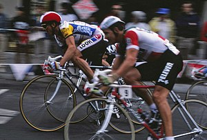 7-Eleven (cycling team) - A Team 7-Eleven rider corners on Greg LeMond's left during the Fisherman's Wharf Criterium stage of the 1986 Coors Classic in San Francisco, CA.
