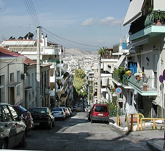 Fused grid - One of several streets of the grid that was applied to the hilly site of Piraeus.