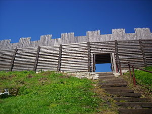 Gord (archaeology) - Section of reconstructed fortifications at Birów near Ogrodzieniec, Poland
