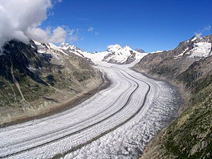 Glacier morphology - Grosser Aletschgletscher,  Bernese Alps, Switzerland