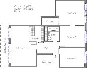 P2 (panel building) - Example layout of a 4-room apartment