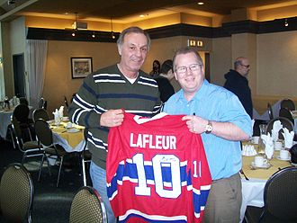 Guy Lafleur - Guy Lafleur and fan in Longueuil, Quebec, Canada on February 2, 2008