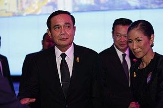 Prayut Chan-o-cha - Prayut and Kobkarn Wattanavrangkul, then Minister of Tourism and Sports
