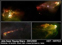 HH1 and HH2 both appear like turbulence in red-green smoke. The top of each object is bright bluish, due to impacting jet material.