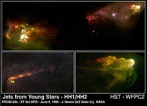Herbig–Haro object - HH objects HH1 and HH2 lie about a light year apart, symmetrically opposite a young star which is ejecting material along its polar axis