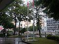HK 元朗 Yuen Long District Office Building frontyard garden trees n flagpoles October 2016 01.jpg
