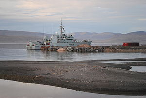 HMCS Goose Bay moored at the future site of the Nanisivik Naval Facility, during Operation Nanook, 2010-08-20.jpg