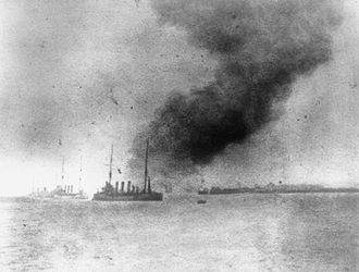 HMS Bulwark (1899) - HMS Bulwark explodes at Sheerness, 26 November 1914.
