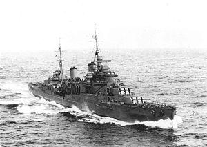 HMS Manchester (15) - Image: HMS Manchester (C15) 1942