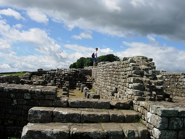 The remains of a fort on Hadrian's Wall near Housesteads.