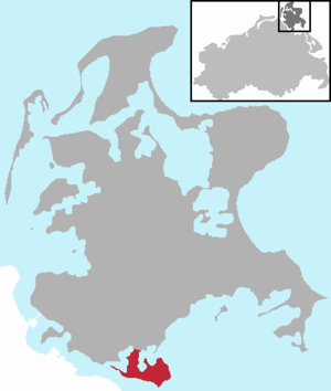 Zudar - Location of the Zudar peninsula on Rügen