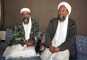 Ayman al-Zawahiri - Osama bin Laden sits with his adviser al-Zawahiri during an interview with Pakistani journalist Hamid Mir, in November 2001.