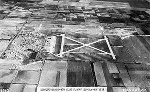 Harlingen Air Force Base - Oblique 26 October 1943 aerial photo looking north