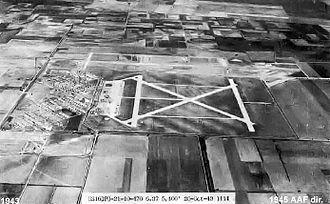 Harlingen Air Force Base - Oblique 26 October 1943 aerial photo looking north