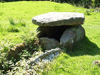 "Battle of Largs - This Neolithic chambered cairn near Largs is sometimes known as ""Haco's Tomb"". Local tombs, such as this, were once believed to have been erected as grave markers for warriors slain during the battle."