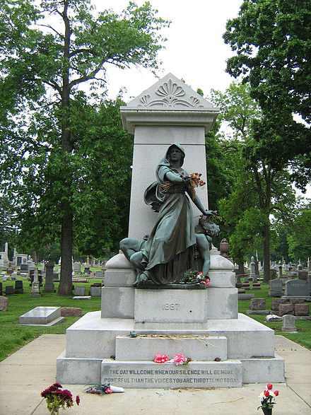 A 2009 image of the Haymarket Martyr's Monument at the Forest Home Cemetery in Forest Park, IL. - Haymarket affair