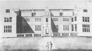 Heanton Satchville, Petrockstowe - The facade in 1716, drawn by Edmund Prideaux (1693-1745) of Prideaux Place, Cornwall