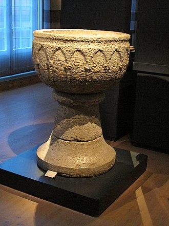 Hedesunda - Hedesunda Church font, late 13th century, in Swedish History Museum, Stockholm