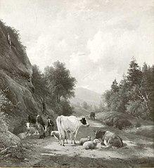 Bergachtig landschap met vee