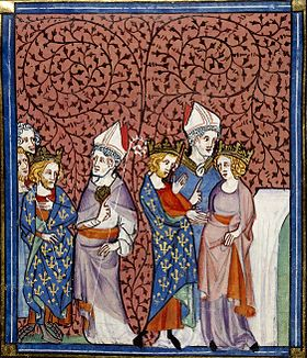 Representation from the Chroniques de Saint-Denis: 1) Henry I sends a bishop (left);  2) Henry's wedding with Anna of Kiev (right)