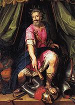 Henri IV vainqueur de la Ligue représenté en Mars, par Jacob Bunel (Conservé au musée national du château de Pau.)