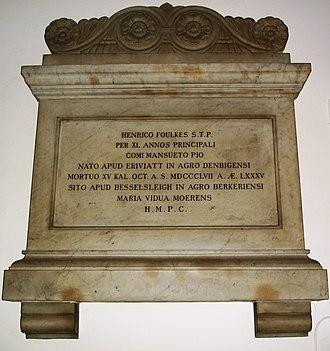 Joseph Hoare (college principal) - The memorial stone to Hoare in the Jesus College chapel