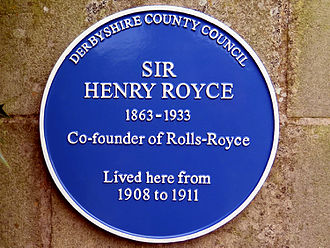 Henry Royce - Royce's blue plaque in Quarndon, Derbyshire