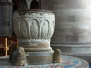 Robert Foliot - Norman font from Hereford Cathedral, which predates Foliot's term in office.