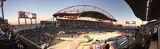 2016 Heritage Classic - Panorama during gameplay of the 2016 Heritage Classic at Investors Group Field late in the game with the Edmonton Oilers leading the Winnipeg Jets by a score of 3-0
