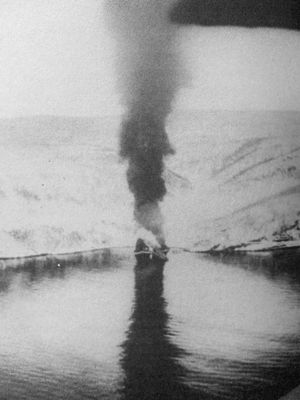 Battles of Narvik - Hermann Künne on fire