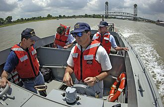 LCVP (United States) - A replica Higgins boat plies the water near New Orleans.