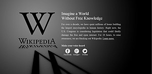 Wikipedia - Wikipedia blackout protest against SOPA on January 18, 2012