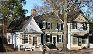 John Holt (publisher) - Holt's storehouse (center) Colonial Williamsburg reconstruction