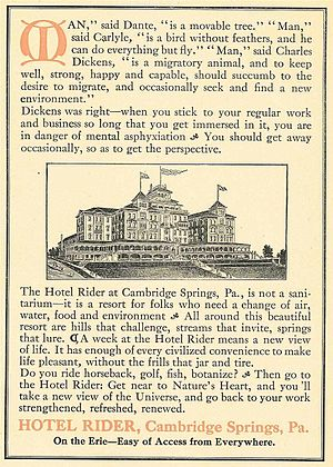 1904 Cambridge Springs International Chess Congress - Hotel Rider ad