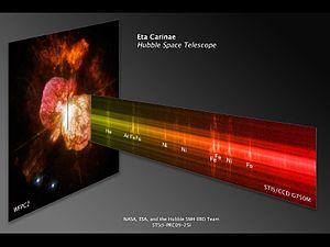 Eta Carinae - Hubble composite of Eta Carinae showing the unusual emission spectrum (near-IR image spectrum from the HST STIS CCD)
