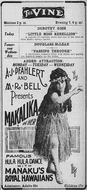 Hula - In the 1890s and early 1900s, hula dancers and Hawaiian musicians toured the U.S. mainland. This advertisement appeared in an Ohio newspaper in 1921.