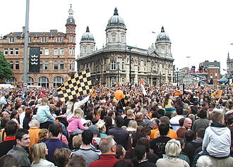 Hull City A.F.C. - Hull City supporters at the celebrations on the team's promotion to the Premier League in 2008