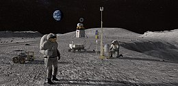 Human landing system and its crew on lunar crater.jpg