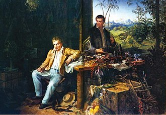 Alexander von Humboldt - Humboldt and Bonpland in the Amazon rainforest by the Casiquiare River, with their scientific instruments, which enabled them to take many types of accurate measurements throughout their five-year journey. Oil painting by Eduard Ender, 1856.