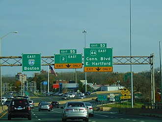 U.S. Route 44 in Connecticut - US 44 at the exit where it departs from I-84 in East Hartford.