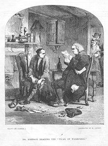 Samuel Johnson liest The Vicar of Wakefield (Stich um 1853) (Quelle: Wikimedia)