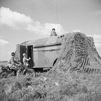 AEC Armoured Command Vehicle - A well camouflaged command post.