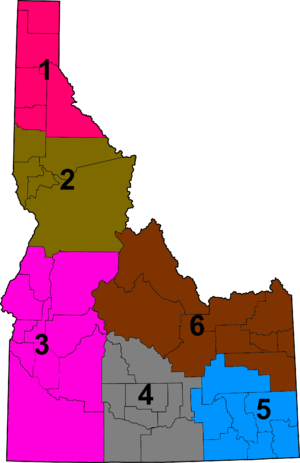 Idaho High School Activities Association - District map