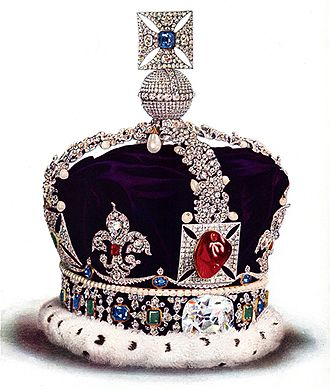 "Crown (headgear) - The Imperial State Crown of Great Britain, Tower of London. It incorporates the ""Black Prince's Ruby"", a 140 ct. Badakhshan spinel. This image of the crown was taken prior to the 1953 coronation, when the crown was modified for Queen Elizabeth II"