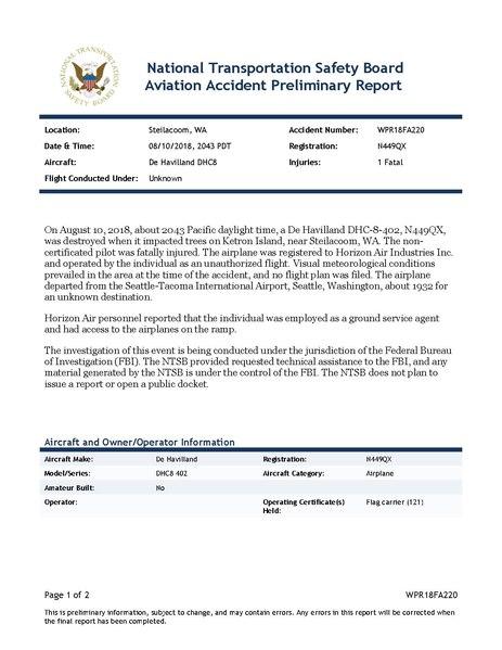 File:Incident WPR18FA220 National Transportation Safety Board Horizon Air De Havilland DHC-8-402, N449QX Q400.pdf