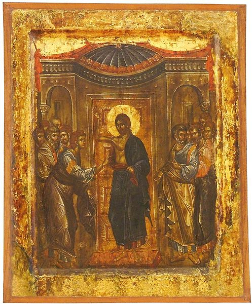 File:Incredulity of Saint Thomas,, Early XIV Century, St Mary Perivleptos Church, Ohrid Icon Gallery.jpg