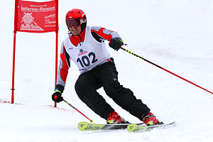 Carve turn - This skier is in the middle of a high-performance turn during a slalom race. The arced shape of the ski can be seen, especially on the outside ski (right side of the image).