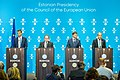 Informal meeting of economic and financial affairs ministers (ECOFIN). Press conference Ardo Hansson, Vítor Constâncio, Valdis Dombrovskis, Toomas Tõniste (37101546331).jpg